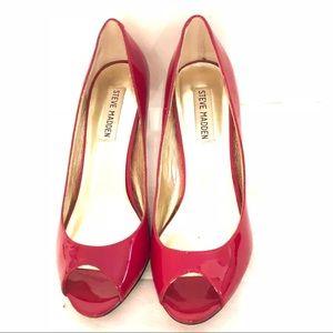 Steve Madden Leilla Red Peep Toe Heels Rockabilly